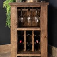 Coleridge Solid Wood Wine Rack - Wine Bottle and Glasses